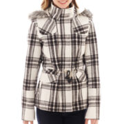 YMI Patch Pocket Faux Fur-Trim Hooded Jacket