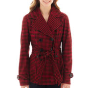 Jou Jou Houndstooth Double-Breasted Trench Jacket