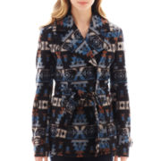 Jou Jou Tribal Print Double-Breasted Trench Jacket