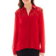 Olsenboye® Long-Sleeve Lace-Yoke Top