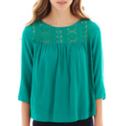 Arizona 3/4 -Sleeve Lace-Yoke Top
