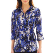 Liz Claiborne Long-Sleeve Belted Print Tunic Blouse