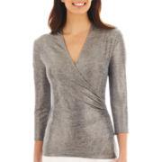 Liz Claiborne® 3/4-Sleeve Foil-Print Knit Top