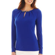 Liz Claiborne Long-Sleeve Jewel-Neck Knit Top