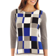 Liz Claiborne Long-Sleeve Plaid-Front Sweater