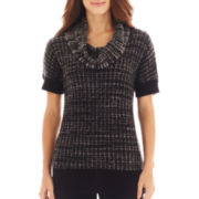 Liz Claiborne® Short-Sleeve Cowlneck Tunic Sweater