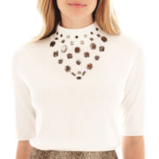Worthington® Elbow-Sleeve Jeweled Sweater