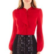 Worthington® Long-Sleeve Ruffle-Front Blouse