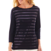 Liz Claiborne® 3/4-Sleeve Sequin-Striped Tee