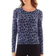 Liz Claiborne® Long-Sleeve Animal Print Sweater - Tall