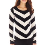 Liz Claiborne Long-Sleeve Chevron Sweater