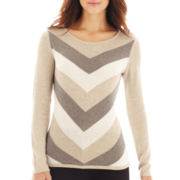 Liz Claiborne® Long-Sleeve Chevron Sweater