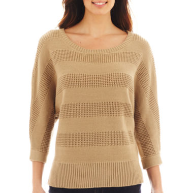 jcpenney.com | Liz Claiborne® 3/4-Sleeve Stitched Sweater - Tall