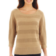 Liz Claiborne® 3/4-Sleeve Stitched Sweater