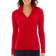 Liz Claiborne® Split-Neck Cable Sweater - Tall