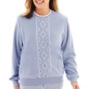 Alfred Dunner® A Fine Romance Long-Sleeve Embroidered Fleece Top