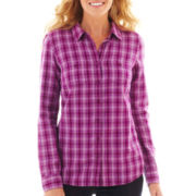 St. John's Bay® Long-Sleeve Brushed Twill Plaid Shirt