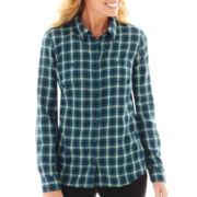 St. John's Bay® Long-Sleeve Brushed Twill Plaid Shirt