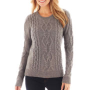 jcp™ Chunky Cable Sweater - Petite