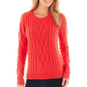 jcp™ Long-Sleeve Chunky Cable Sweater