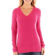 jcp™ Long-Sleeve V-Neck Shaker Sweater