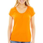 jcp Scoop Neck Short-Sleeve Tee - Petite