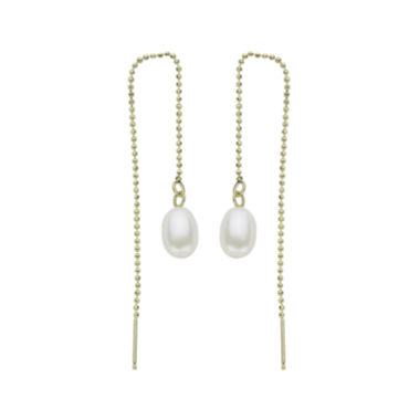 jcpenney.com | Cultured Freshwater Pearl 14K Yellow Gold Threader Drop Earrings
