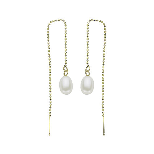 Cultured Freshwater Pearl 14K Yellow Gold Threader Drop Earrings