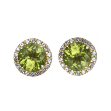 jcpenney.com | Genuine Peridot and White Sapphire 10K Yellow Gold Halo Earrings