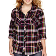 Arizona Long-Sleeve Sequin Plaid Shirt - Juniors Plus