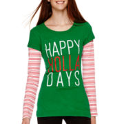 Long-Sleeve Holiday Layered T-Shirt