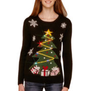 Love by Design Long-Sleeve Light-Up Christmas Sweater
