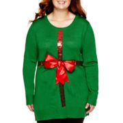 Ransom Long-Sleeve Holiday Tunic Top - Juniors Plus
