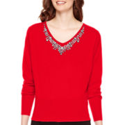 Worthington® Dolman-Sleeve Embellished Sweater