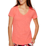 Stylus™ Short-Sleeve Slub V-Neck T-Shirt- Petite