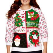 Long-Sleeve Holiday Sweatshirt - Juniors Plus