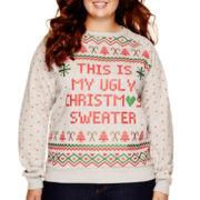 Long-Sleeve Holiday Sweatshirt - Plus