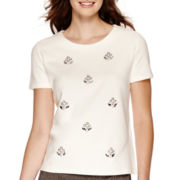 Liz Claiborne® Short-Sleeve Beaded Knit Top
