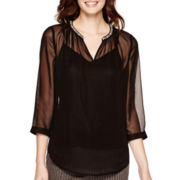 Liz Claiborne® 3/4-Sleeve Beaded Blouse