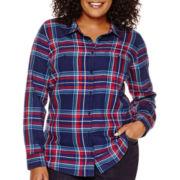 St. John's Bay® Long-Sleeve Brushed Twill Shirt - Plus