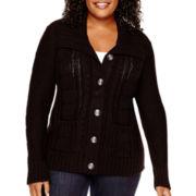St. John's Bay® Long-Sleeve Chunky Button-Down Cardigan - Plus