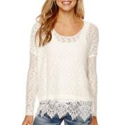 Decree® Long-Sleeve Lace-Hem Sweater