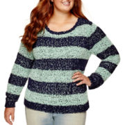 Arizona Long-Sleeve Popo Sweater - Juniors Plus