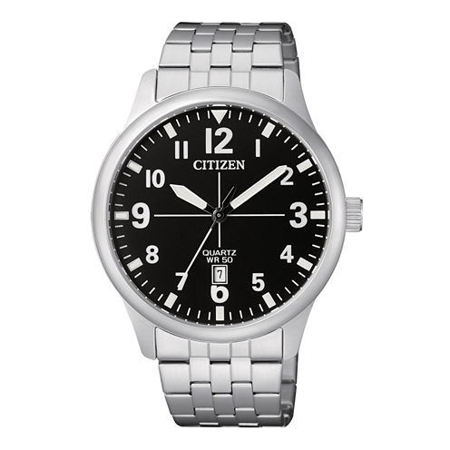 Citizen Quartz Mens Silver Tone Bracelet Watch-Bi1050-81f