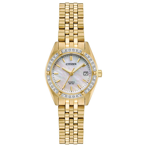 Citizen Womens Mother of Pearl Dial Gold Tone Bracelet Watch-EU6062-50D