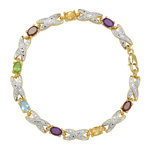 Sparkle Allure Womens Multi Stone Bangle Bracelet