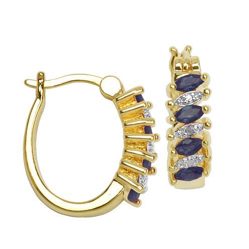 Sparkle Allure Genuine Sapphire Hoop Earrings