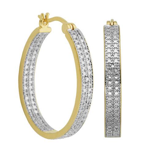 Sparkle Allure White Diamond Hoop Earrings
