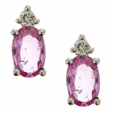 jcpenney.com | Diamond Accent Oval Pink Sapphire 10K Gold Stud Earrings