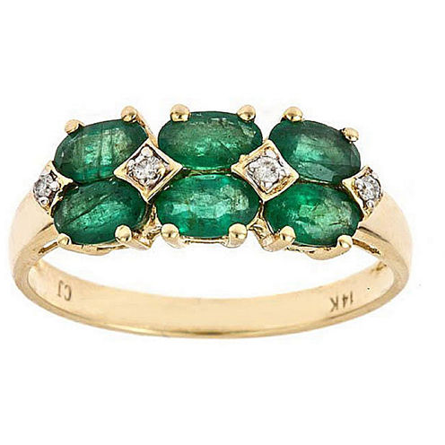 LIMITED QUANTITIES! Genuine Emerald Diamond Accent  10K Gold Cluster Ring
